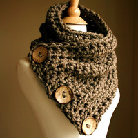 The Original BOSTON HARBOR SCARF  - Note Shipping Times - Warm, soft & stylish scarf with 3 large coconut buttons - Taupe