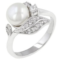 White Gold Bonded Rhodium Bonded Antique White Pearl Ring