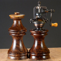 Antique Series Wood Salt & Pepper Mill Set