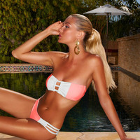 Swimsuit - Bandeau Color Block Coral White Bikini