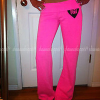 *VICTORIA'S SECRET LOVE PINK Vintage FITTED FLARE NEON PINK SWEAT PANTS RARE M