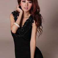 Black Tempting Floral Waves Neck Sleeveless Dresses : Wholesaleclothing4u.com