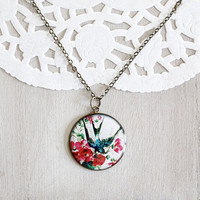 Red Peonies and Swallow Bird Necklace  by TheBloomingThread