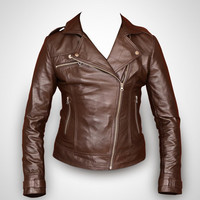 Brown leather jacket women leather jacket  ladies by Rubyleather