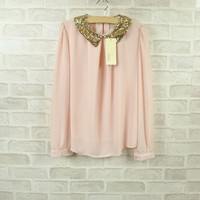 Gold Sequined Collar Blouse (Cream)