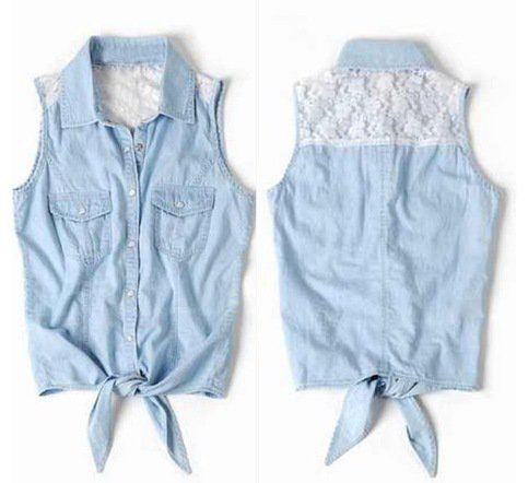 Lace Denim Button-Up