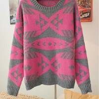 Pop Art Geometric Abstract Fish Bones Pattern Sweater from Showmall
