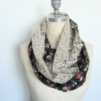 Lace Circle Scarf Double Layer in Black Rose by SevenWhiteRabbits