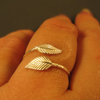 Adjustable ring, sterling silver leaf ring, open ring nature inspired