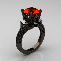 Classic French 14K Black Gold 3.0 Carat Padparadscha Black Diamond Solitaire Wedding Ring R401-14KBGBDP