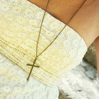 Cross Necklace Bohemian Hipster Boho Pendant Charm Bronze Chain Jewelry