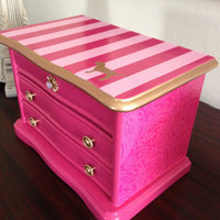Vintage up-cycled Jewelry Box Inspired By Victoria Secret Pink