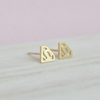 Gold Superman Earrings, Superman Studs, Superman Posts, Superhero Stud Earrings