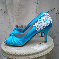 Blue Wedding shoes- Sz.8  blue heels