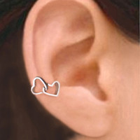 925, Double heart - Solid Sterling silver ear cuff earring jewelry, Right non pierced earcuff  091612