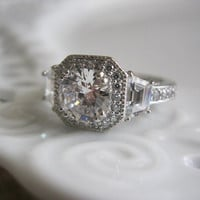Antique Art Deco Engagement Ring w Huge 3 by TheRustyChandelier