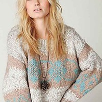Free People Fairisle Cropped Pullover in Frost Combo