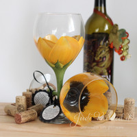 Sunflower Wine Glass - hand painted by Judi Painted it. #1 Seller!