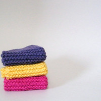 3 - Hand Knit Cotton Wash Cloth Dish Cloth in Pink, Yellow and Purple