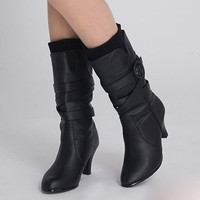 Warmer Winter Black Soft Leather Boots : Wholesaleclothing4u.com