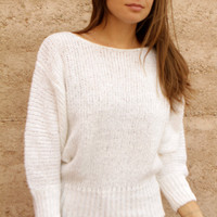 white SLOUCHY batwing sweater oversize warm cozy winter WEAR