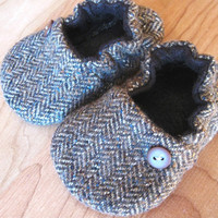 birdy boots &#x27;Brown Tweed&#x27;upcycled woolbaby or by birdyboots