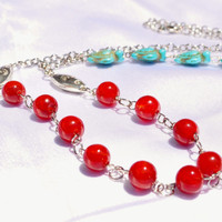 Southwestern turquoise turtle bead necklace with red and silver accents