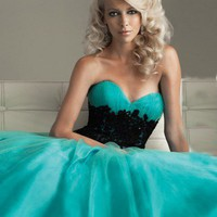 2012 Style A-line Sweetheart  Lace Sleeveless Floor-length Tulle   Prom Dress / Evening Dress (SZ0211712 ) - MicWell.com