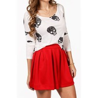 White Fringed Skull Top