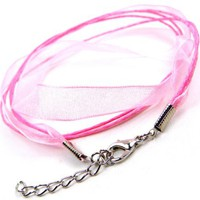 Pink Chiffon Silk & Braided Cord Wrap Bracelet Silver Plated Lobster Clasps, Adjustable 20 Inch Length - Like Love Buy