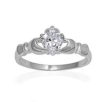 Bling Jewelry Irish Celtic Sterling Silver Claddagh Ring Heart CZ April Birthstone