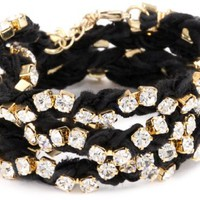 "Ettika ""Vintage Ribbon"" Gold Rhinestone Black Wrap Tennis Bracelet - Like Love Buy"