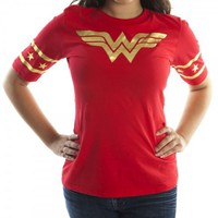 Wonder Woman Red Hockey Style Women's Junior T-shirt