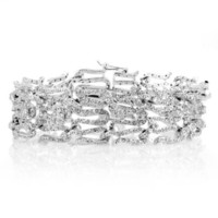 Lucia's Swirl CZ Vintage Bridal Bracelet - 7 inches - Like Love Buy
