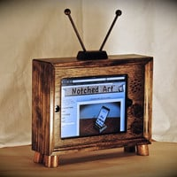 The &quot;iPad TV Dock&quot; Dark Walnut handcrafted wooden ipad stand for iPad 1 2 3 and 4