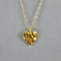 Hammered Heart Necklace, Gold Vermeil Charm, 14K Good Filled Cable Chain, Simple, Sweet, Pretty Necklace