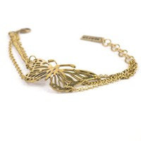 Vtg bracelet vintage brass gold butterfly chain link by 81stgeneration - Like Love Buy