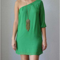 Trendy Clothing, Fashion Shoes, Women Accessories | Ginger One Shoulder Green Dress  | LoveShoppingMiami.com