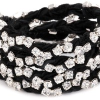 "Ettika ""Vintage Ribbon"" Silver Rhinestone Black Wrap Tennis Bracelet - Like Love Buy"