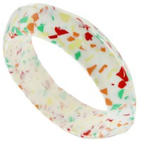 Mosaic Lucite Plastic Green Red White Bangle Bracelet Vintage - Like Love Buy
