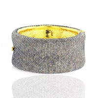 14k Solid Yellow Gold Bangle,diamond Pave Bangle,.925 Sterling Silver Bangle Cuff Bangle Bracelet Vintage Style Wedding Jewelry - Like Love Buy