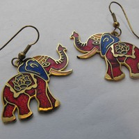 Trunks Up Red Cloisonne Elephant Earrings from giltygirlvintage on Ruby Plaza