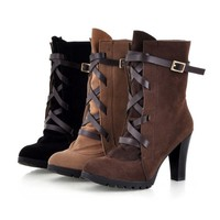 US SZ5-8.5 Suede 9cm Heels Lace Up Matin Boots 3 Colors