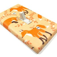 Coral Peach Red Fox Decor Light Switch Cover Woodland Critters Nursery Foxes Wall Art Decoration 1130