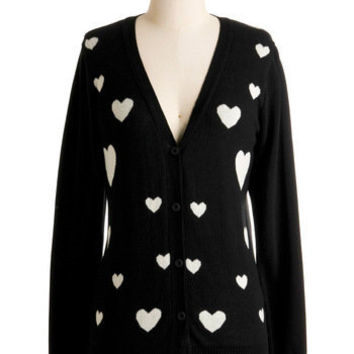 Heart-ly Contain Myself Cardigan | Mod Retro Vintage Sweaters | ModCloth.com