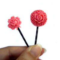 Pink Flower hair pins pink flower resin rose Set of 2 by JPwithLove