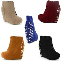 High Platform Wedge Heel Lace up High Top Ankle Boot Bootie