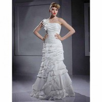 Trumpet / Mermaid One Shoulder Floor-length Taffeta Wedding Dress With 3D Floral - Wedding Dresses 2011 Collection - Wedding Dresses - Wedding  Events