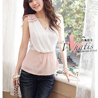 Korean Fashion Chiffon V Collar Womens Blouses : Yoco-fashion.com