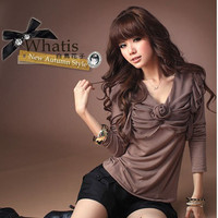 New Arrival Korean Fashion Cotton Brown Blouses : Yoco-fashion.com